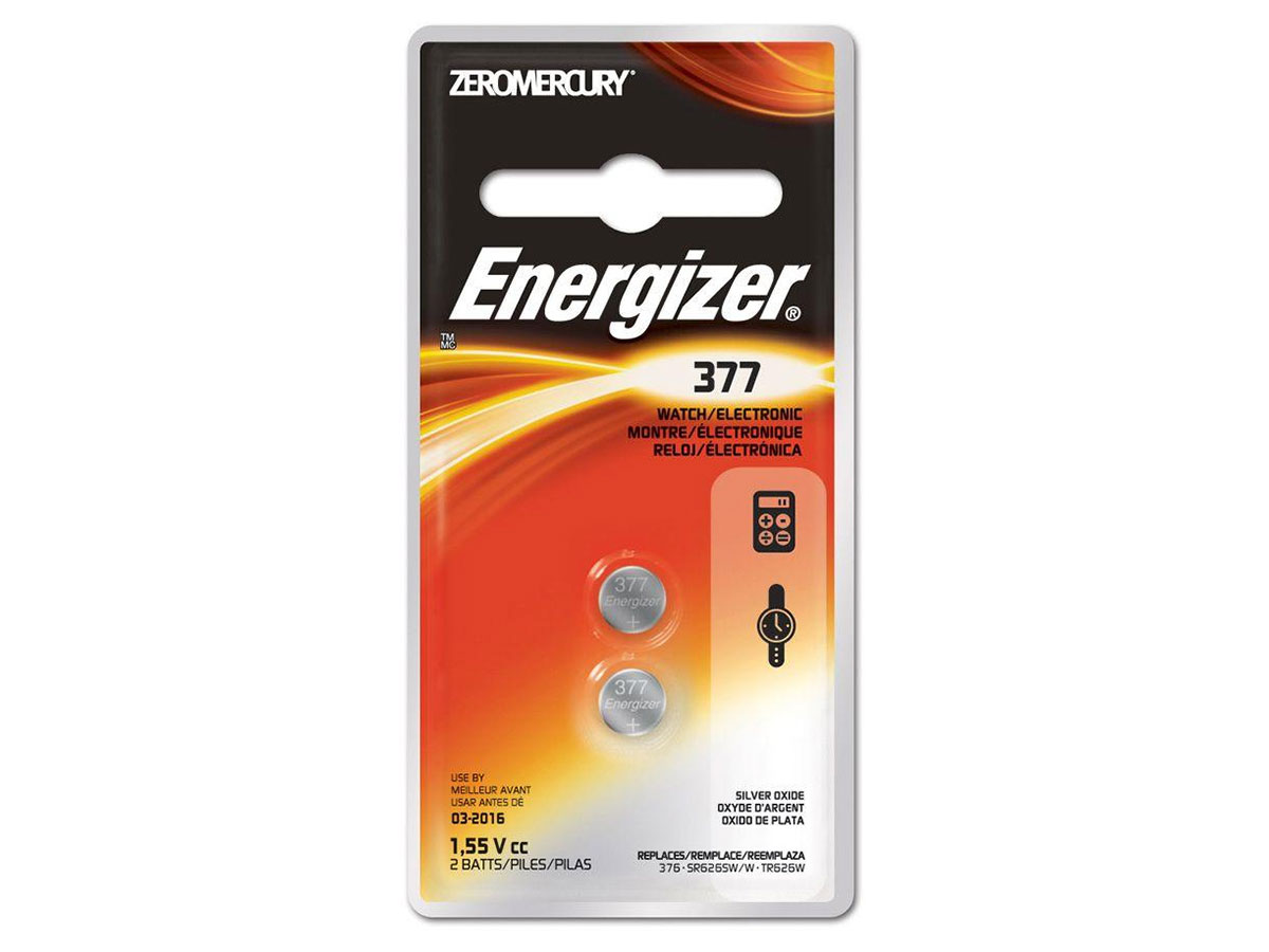 Energizer 377 button cell battery in 2 piece blister packaging