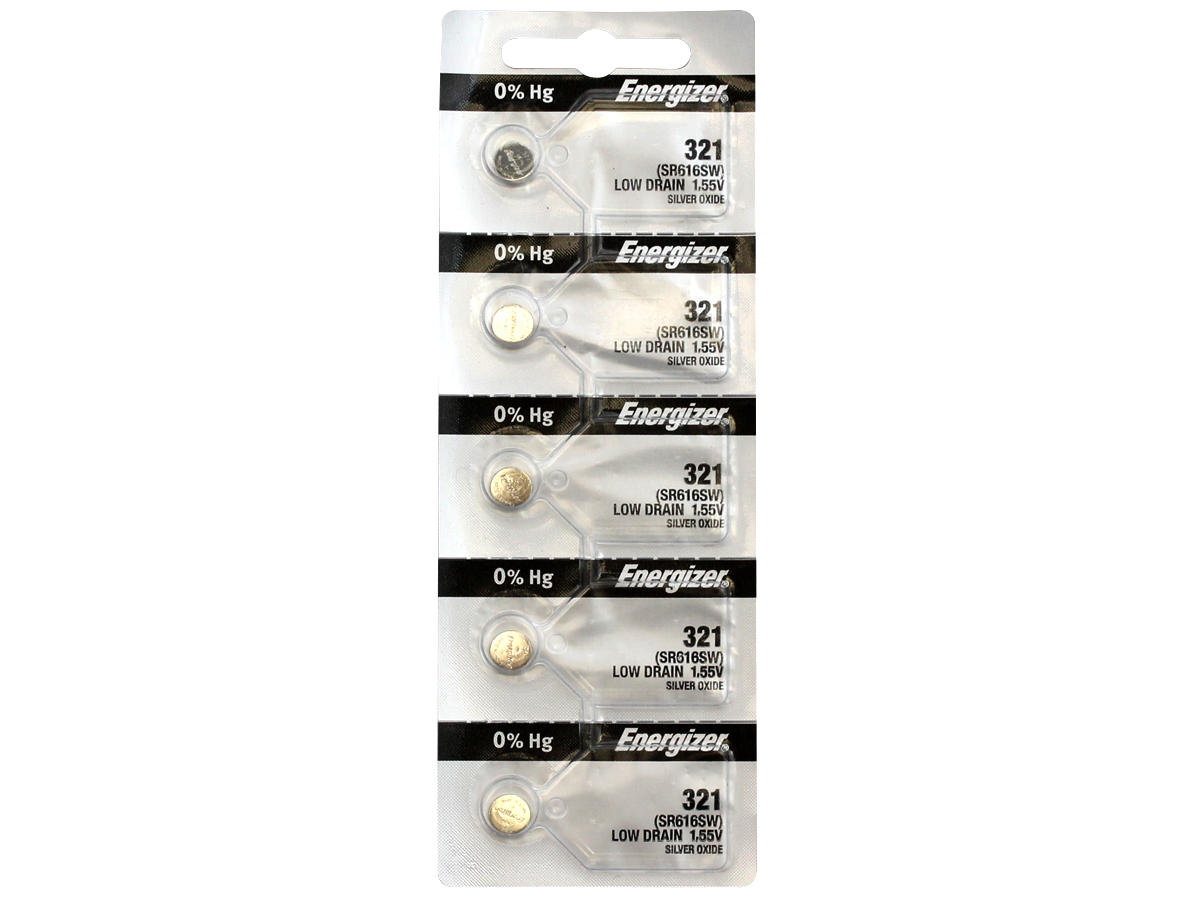 Energizer SR616SW coin cell in set of 5 tear strip packaging