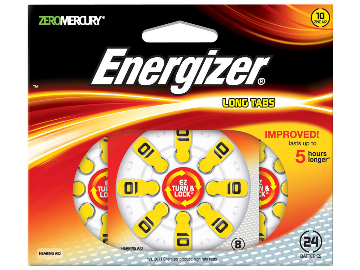 Energizer AZ10 Zinc Air Yellow hearing aid batteries in 24 count blister pack