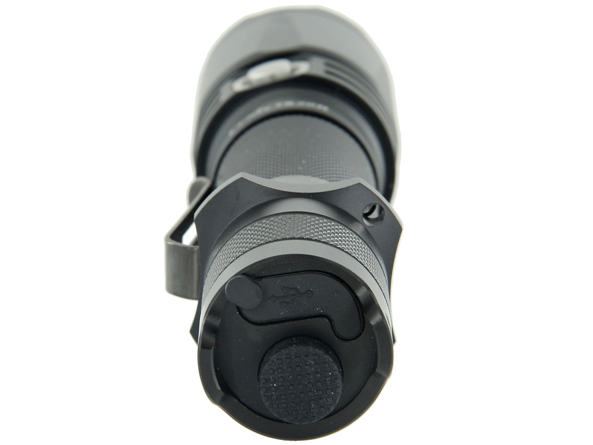 Close up of tailcap on Fenix TK20R flashlight