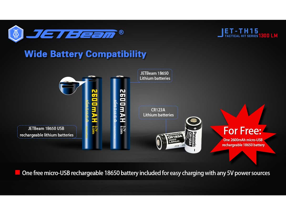 JETBeam TH15 manufacturer included battery info slide