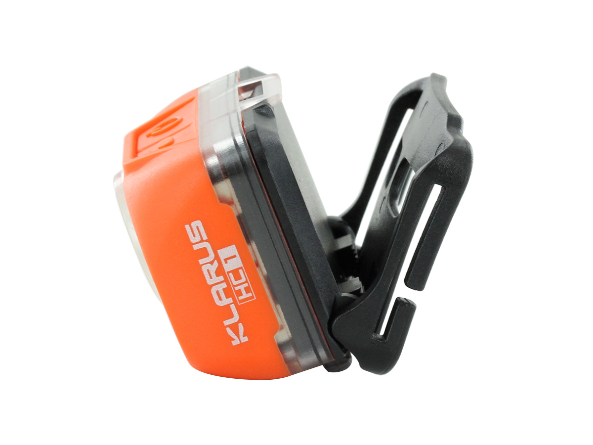 Klarus HC1-S Dual Headlamp light on its own from the side with adjustable light hinge fully open position