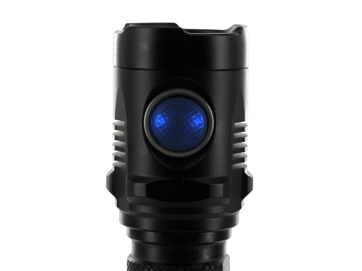 Close-Up of Nitecore MH20's Side Switch Which Doubles as an LED Power Indicator