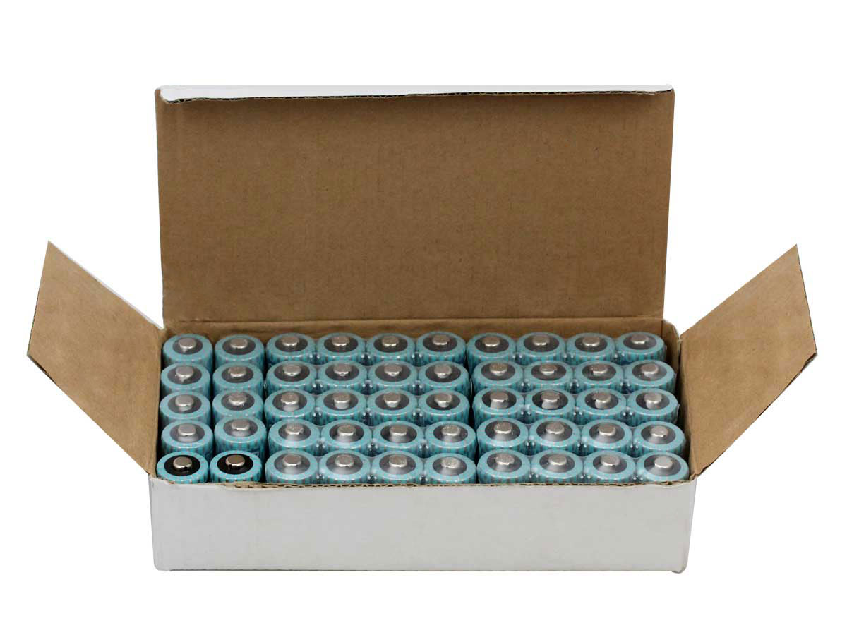 Powerizer CR123A batteries in a tray