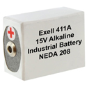 Exell 411A 15V Alkaline Industrial Battery for AVO Meters, VOMs - Replaces Eveready 411, BLR121
