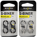 Nite Ize S-Biner MicroLock - Stainless Steel Double-Gated Carabiner with Twisting Lock - 2 Pack - Black (LSBM-01-2R3), Stainless (LSBM-11-2R3), or Spectrum (NITEIZE-LSBM-07-2R3)