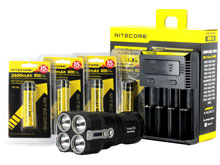 BUNDLE: Nitecore TM26 Tiny Monster Quad Ray Flashlight Combo - 4 x CREE XM-L2 LED - 4000 Lumens - with Batteries and Charger