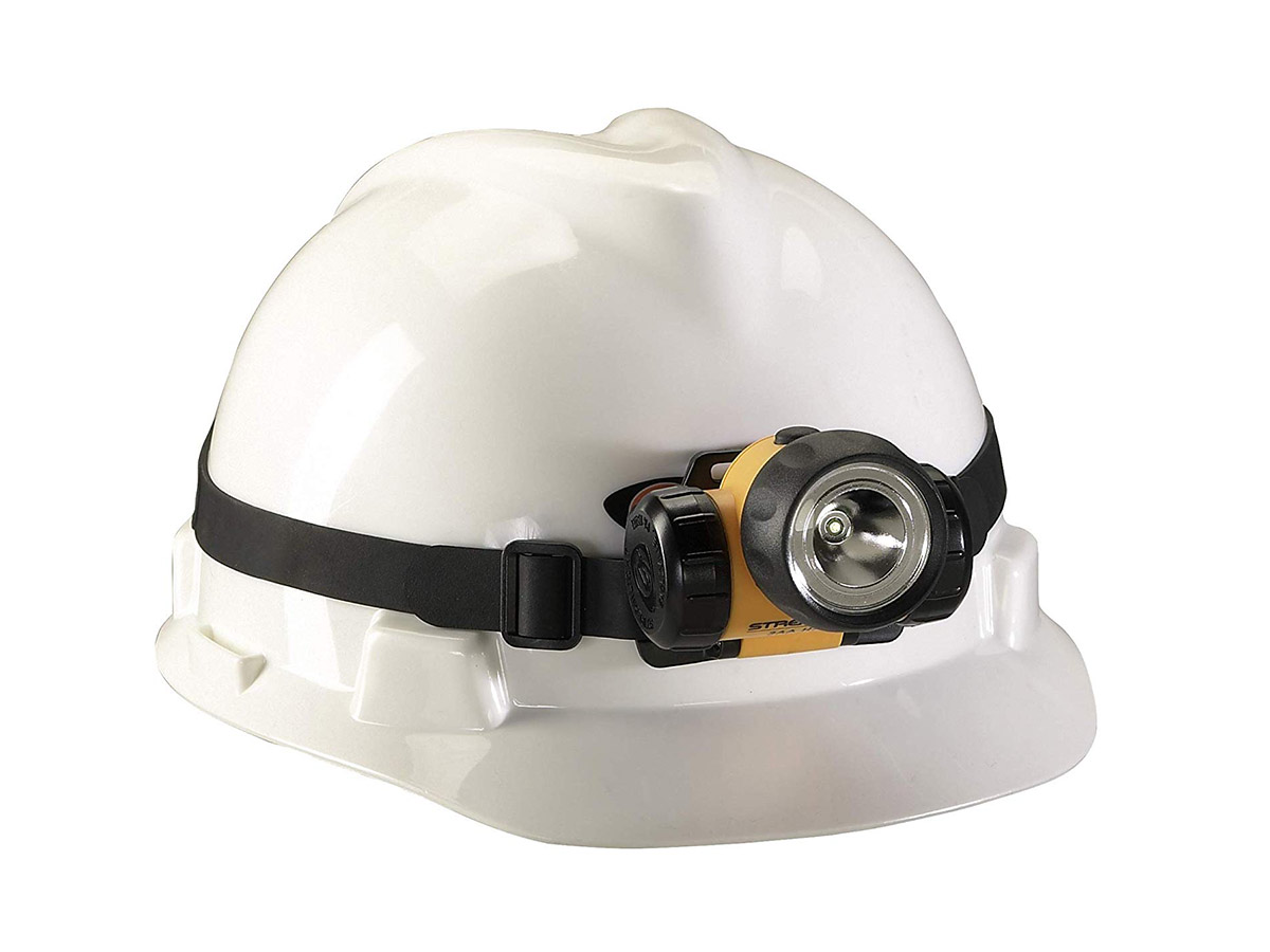 3AA HAZ-LO head light with rubber headband on a helmet