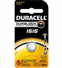 Duracell Duralock DL CR1616 55mAh 3V Lithium (LiMNO2) Watch/Electronic Coin Cell Battery - 1 Piece Retail Card