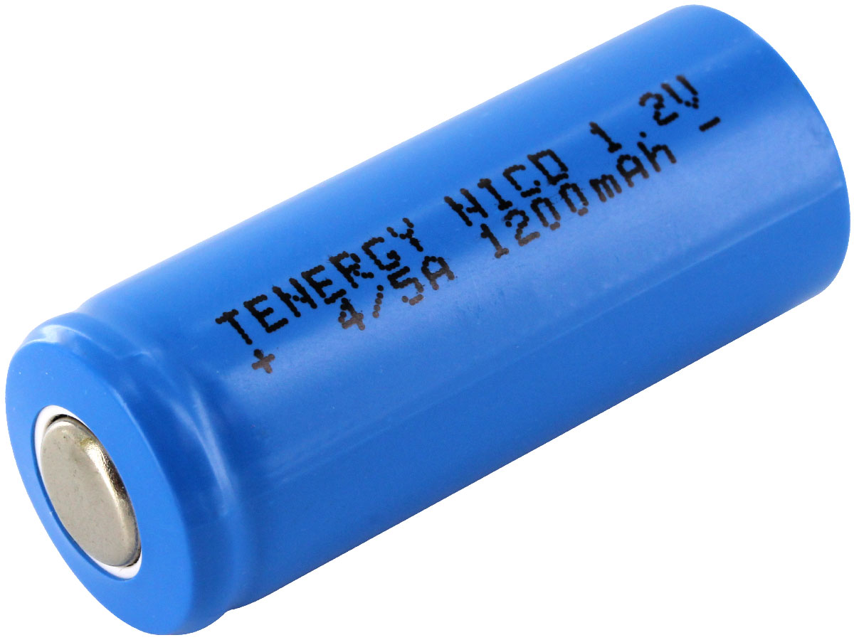 Angle Shot of the Tenergy 4/5A Rechargeable NiCd Flat Top Battery