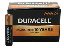 Duracell Coppertop Duralock MN2400 (24PK) AAA Alkaline Button Top Batteries (MN2400BKD) - Made in the USA - Box of 24