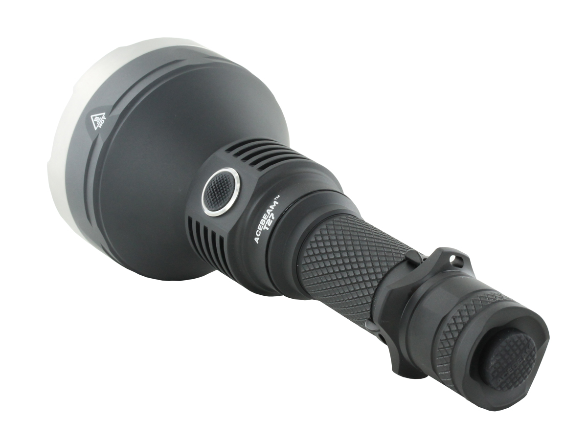 Acebeam T27 LED Flashlight showing the tail cap switch
