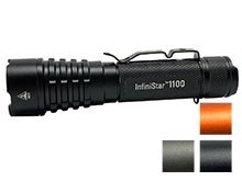 TerraLUX/Lightstar InfiniStar 1100 LED Flashlight - CREE XP-L - 1100 Lumens - Includes 1 x USB Rechargeable 18650 - Titanium Gray, Hi-Vis Orange, Matte Black