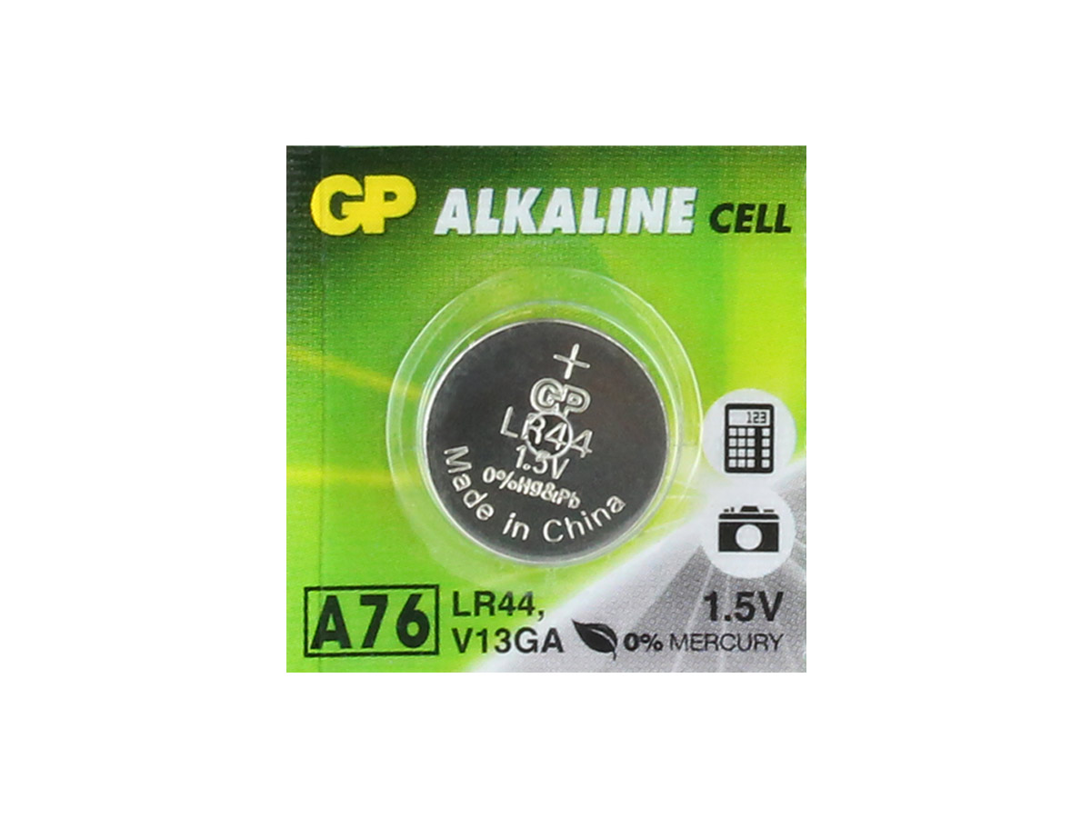 Gold Peak A76 coin cell in packaging