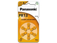 Panasonic PR13 (6PK) Size 13 300mAh 1.4V Zinc Air Hearing Aid Batteries - 6 Pack Retail Card