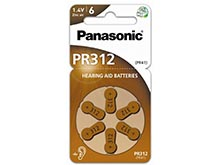Panasonic PR312 (6PK) Size 312 170mAh 1.4V Zinc Air Hearing Aid Batteries - 6 Pack Retail Card