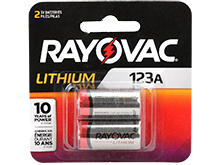 Rayovac Specialty CR123A 1400mAh 3V Lithium Primary (LiMNO2) Photo Batteries - 2 Piece Retail Card (RL123A-2G)