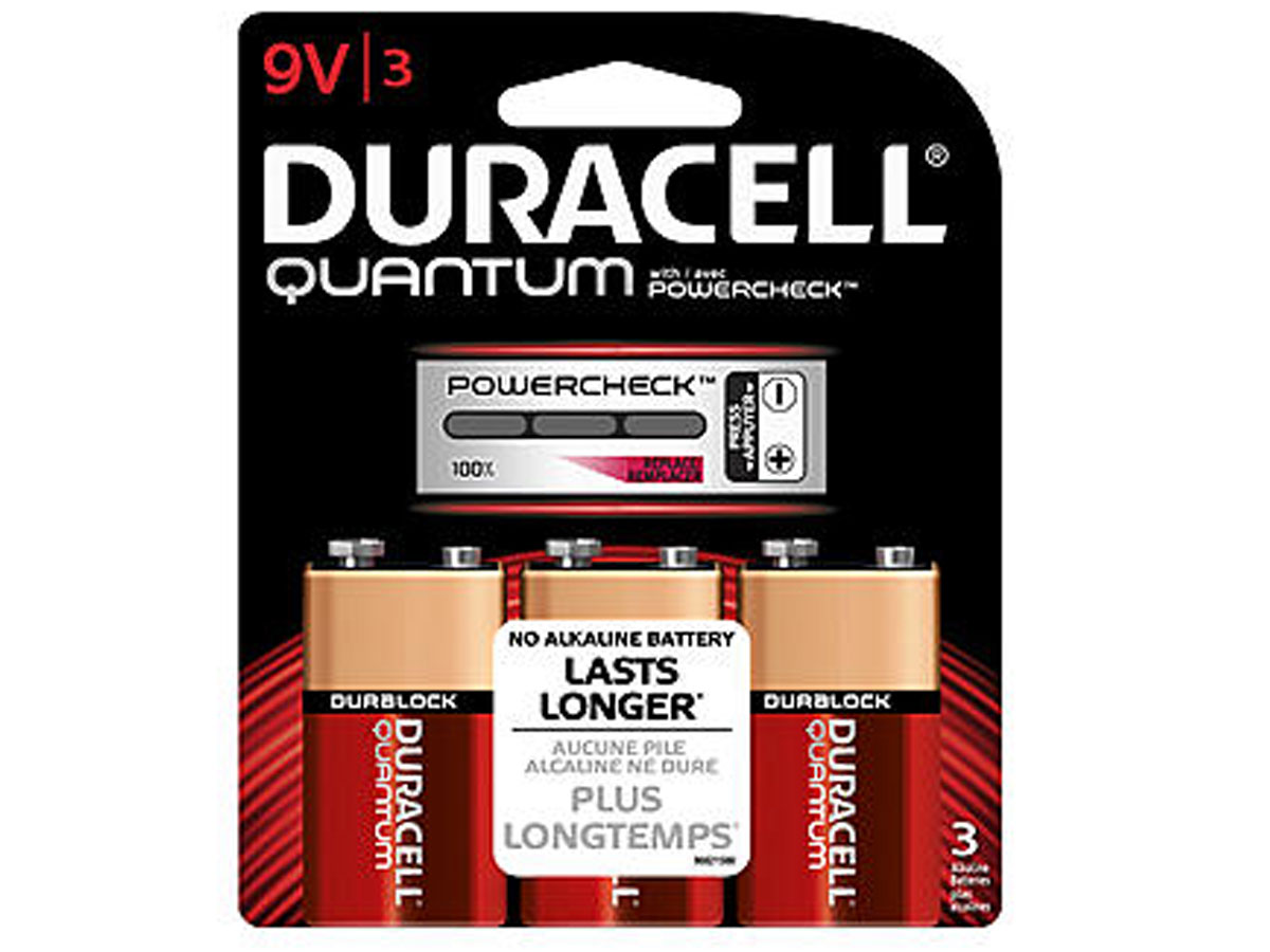 3 Duracell Quantum 9V batteries in retail card