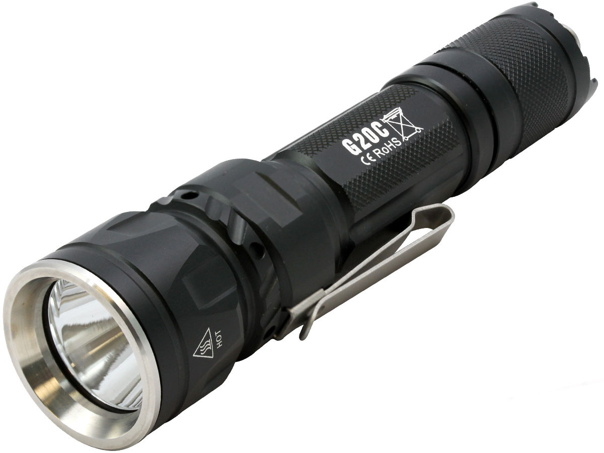 Angle Shot of the Sunwayman G20C Dual Button Compact Flashlight