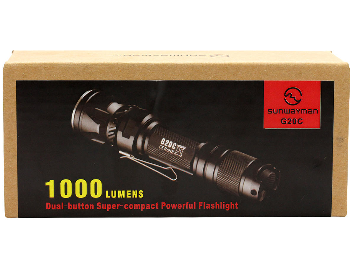 Package Shot of the Sunwayman G20C Dual Button Compact Flashlight