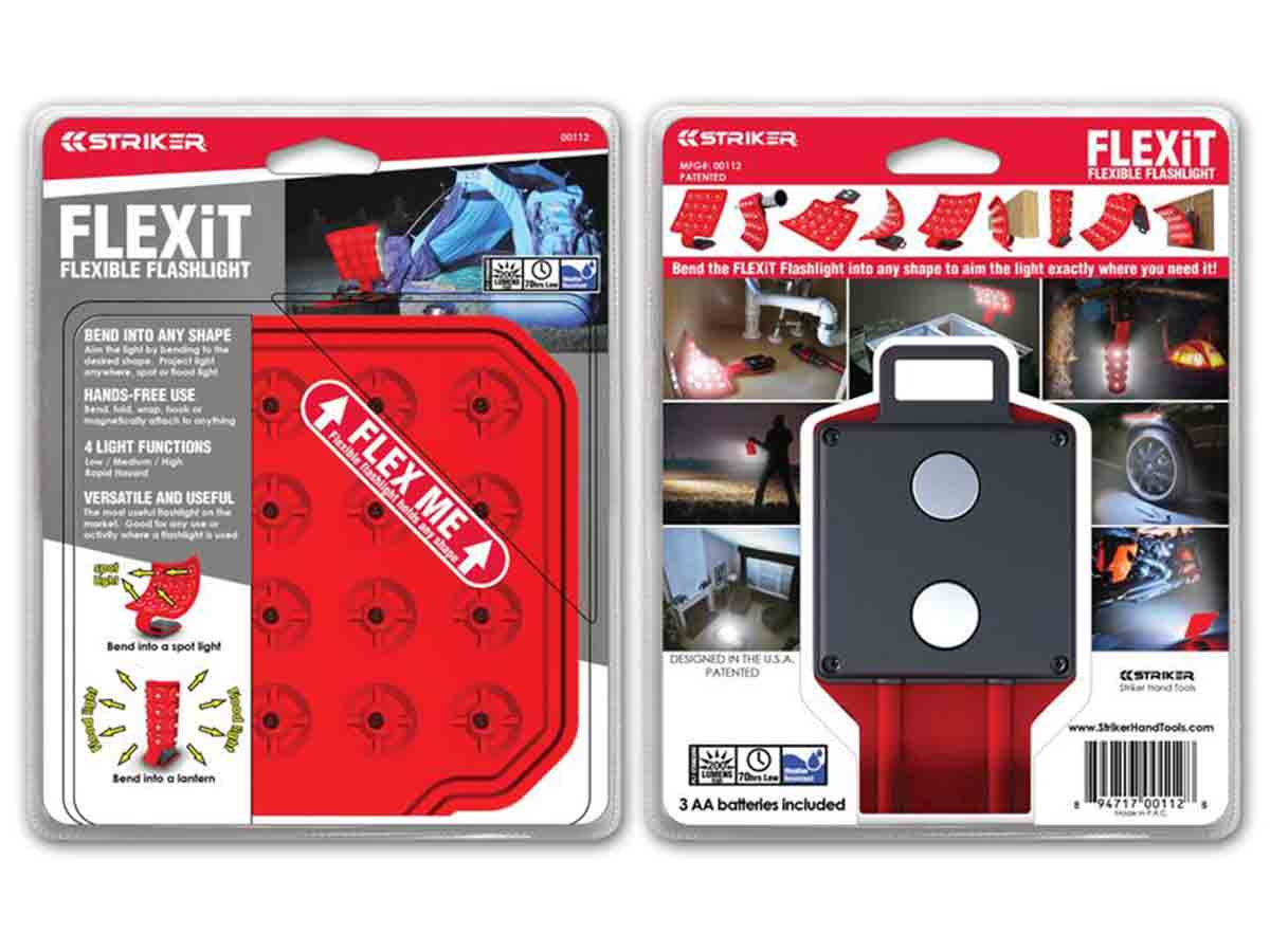 Striker FLEXiT 2.0 flashlight packaging, front and back views