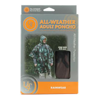 Ultimate Survival Technologies All-Weather Adult Poncho - 40 x 50-inch Rainwear with Drawstring Hood - Grey