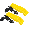 Ultimate Survival Technologies Hear-Me Whistles / Emergency Signaling Devices with Breakaway Lanyards - 2-Pack - Yellow (20-02790)