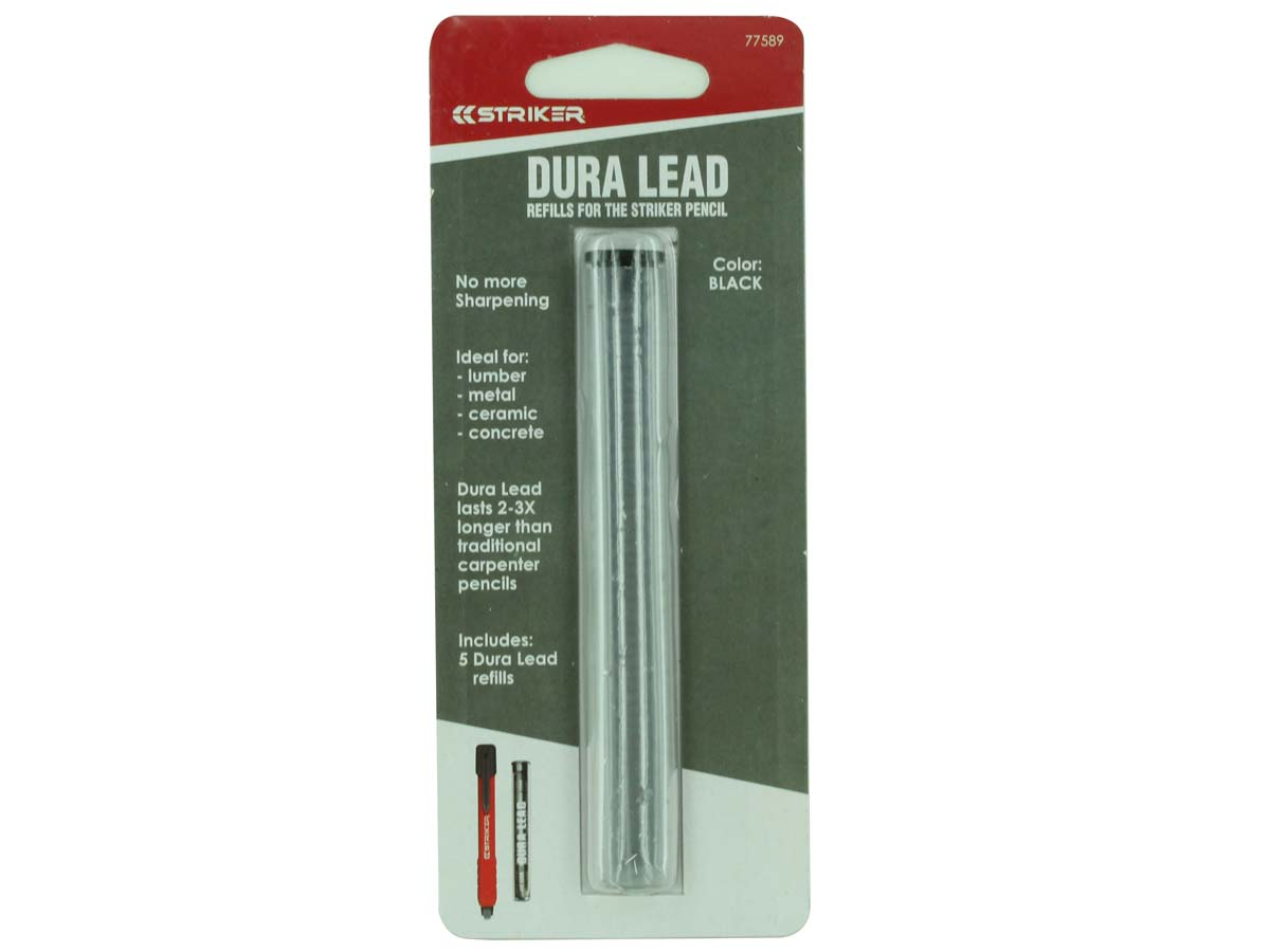 Striker Dura Lead Refills 5 Pieces for Mechanical Carpenters Pencil Packaging