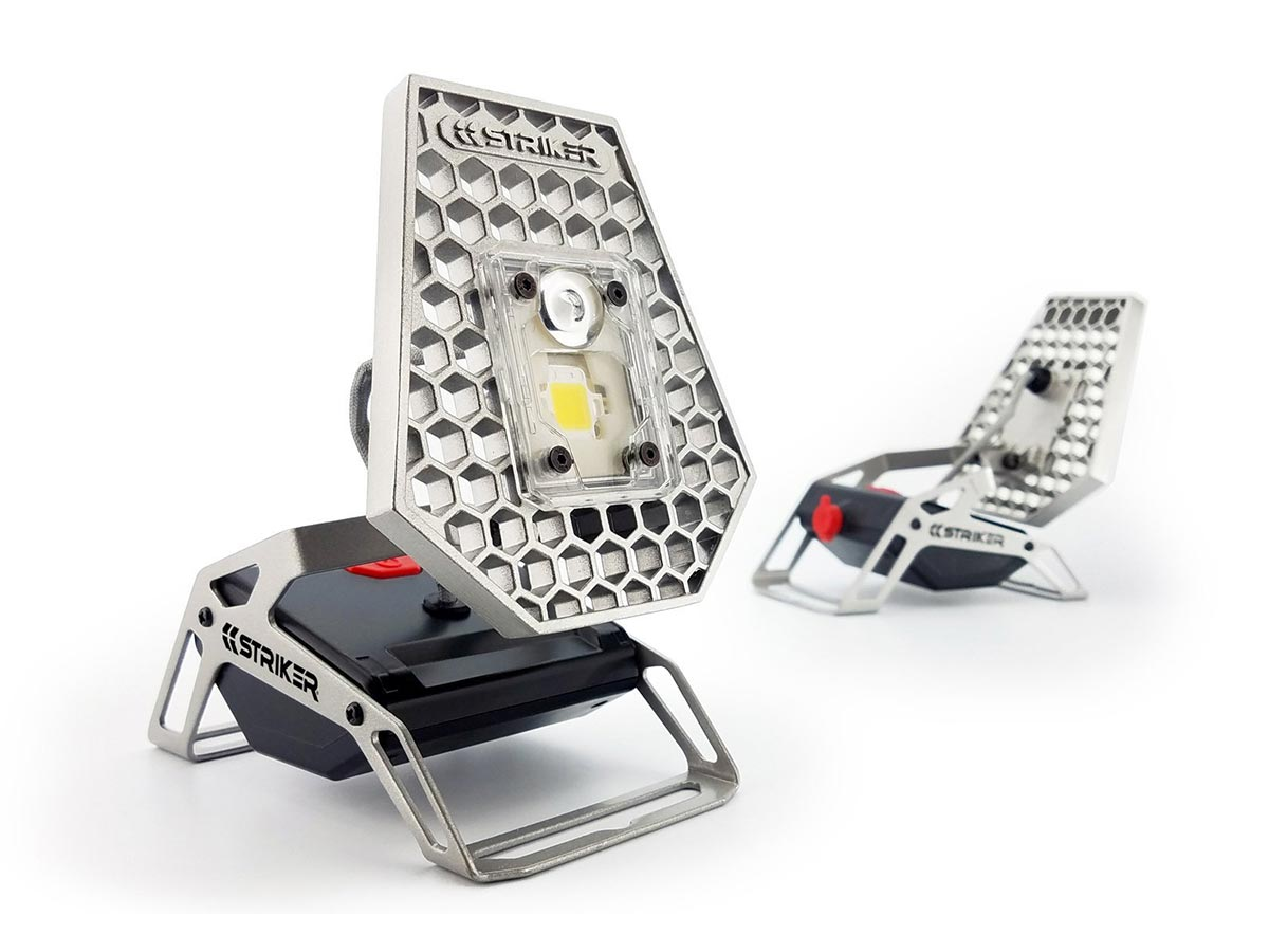 striker task light, two, one at an angle facing front, the other facing down and away from camera
