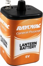 Rayovac 941C 10500mAh 6V Carbon-Zinc Lantern Battery with Spring Terminals - Shrink Pack