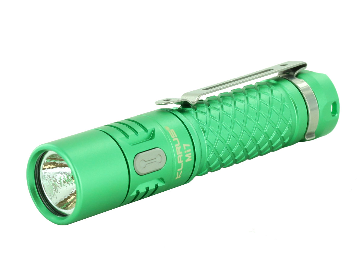Klarus Mi7 EDC flashlight in red, green, lavendar, black, and olive upright