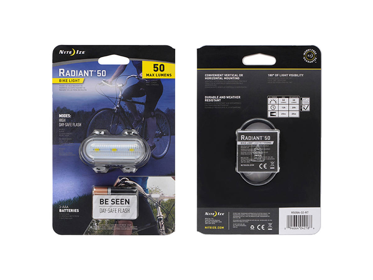 Package Shot of the Nite Ize Radiant 50 Bike Light
