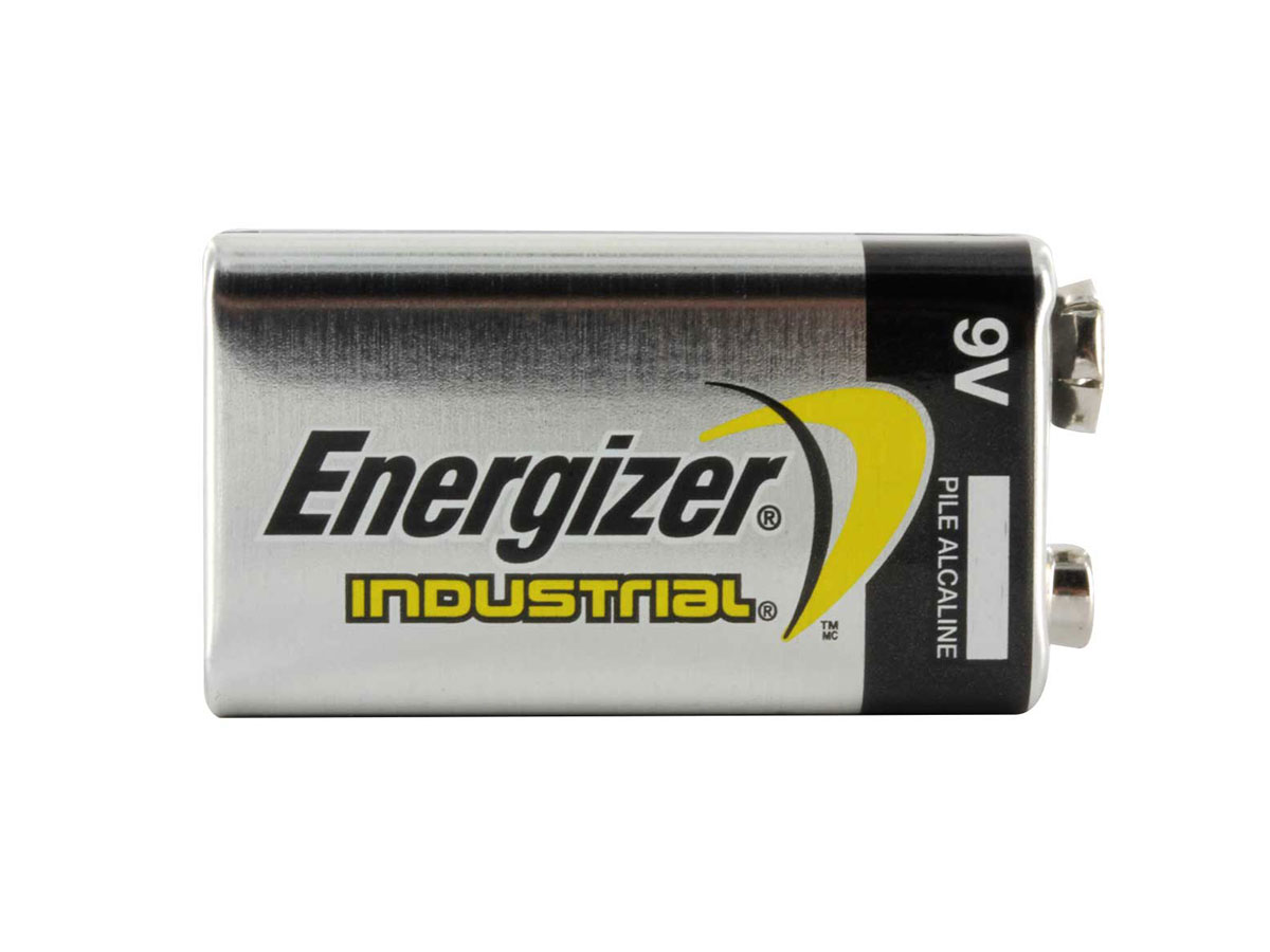 Energizer Industrial 9V battery by itself laying horizontally