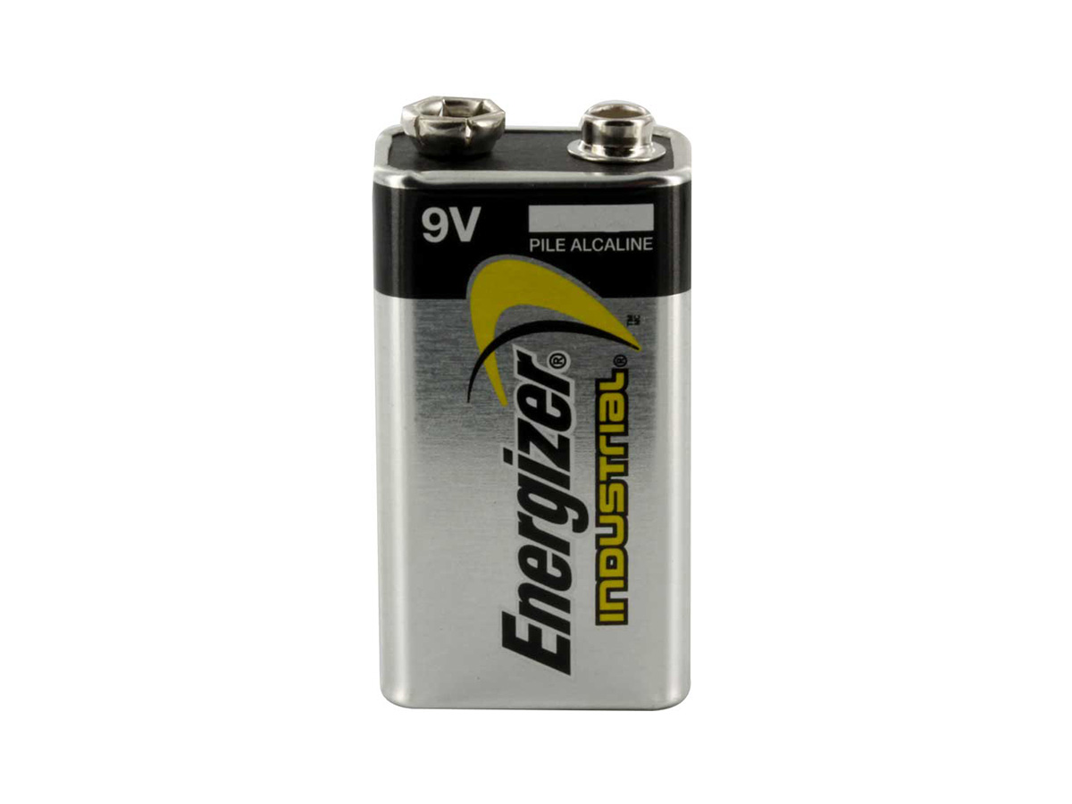 Energizer Industrial 9V battery by itself sitting vertically