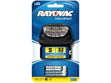 Rayovac Value Bright 5-LED Headlight - 14 Lumens -Includes 3 x AAAs (BRS5LEDHLT-BB)