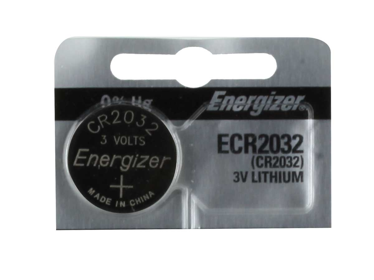 Energizer ECR2032 coin cell in tear strip packaging