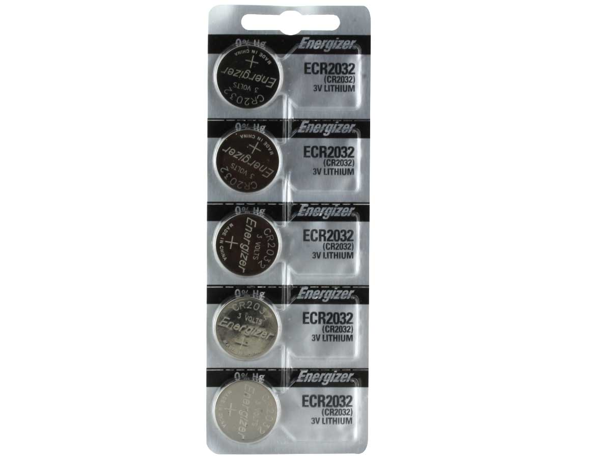 Set of 5 Energizer ECR2032 coin cells in tear strip packaging