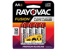 Rayovac Fusion 815-8CT AA 1.5V Alkaline Button Top Batteries - 8 Piece Retail Card