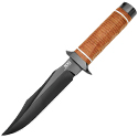 SOG Super SOG Bowie Fixed Blade Knife - 7.5-inch Straight Edge, Clip Point - Hardcased Black TiNi  - Brown Handle - Boxed (SB1T-L)