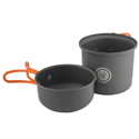 Ultimate Survival Technologies Solo Cook Kit - Hard Anodized Aluminum - Includes Pot with Lid / Frying Pan - Silicone Handles (20-02743)