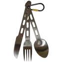 Ultimate Survival Technologies KLIPP Utensil Set - Stainless Steel Cutlery for Camping - Includes 1 x Knife, 1 x Fork and 1 x Spoon - Locking Carabiner - Silver (20-CKT0053-02)
