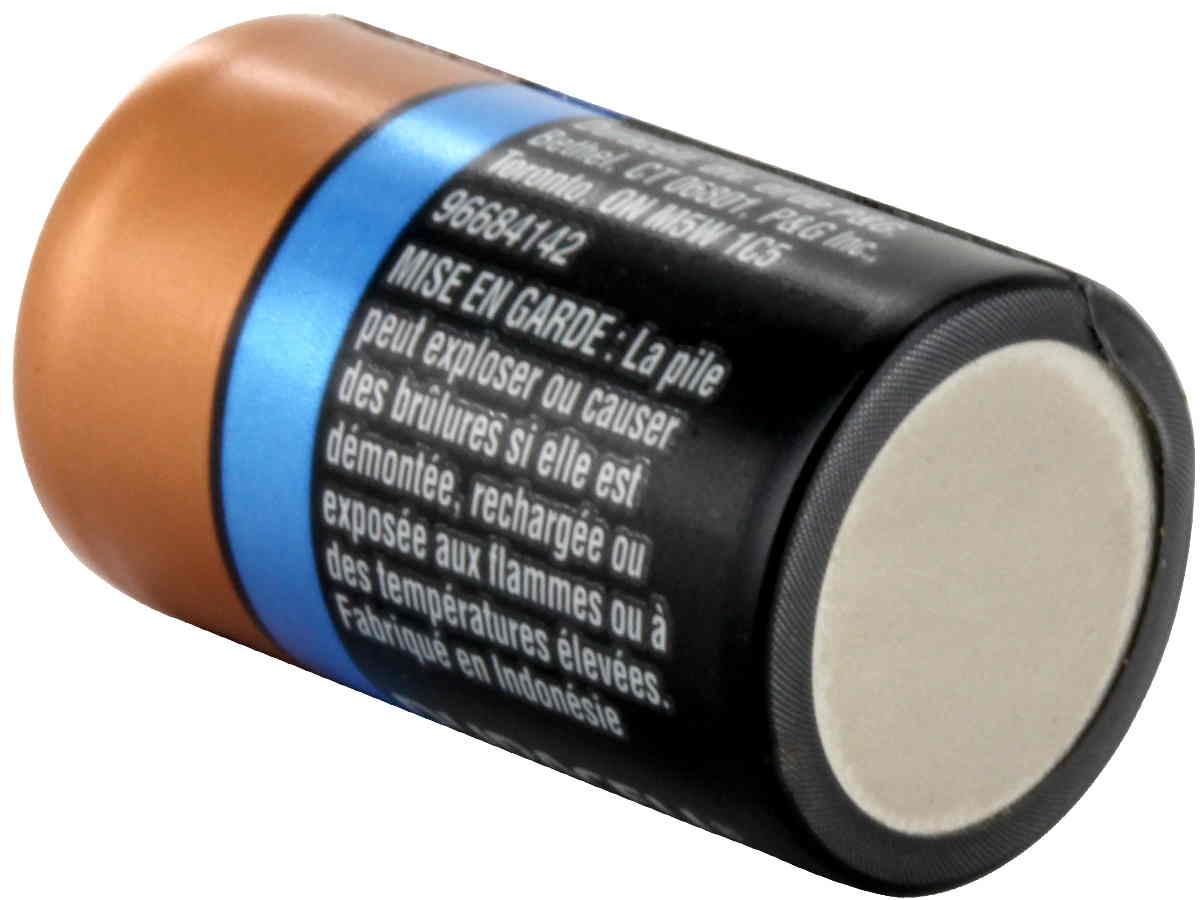 Duracell Ultra CR2 battery back side angle