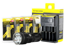 BUNDLE: Nitecore TM15 Tiny Monster Flashlight Combo - 3 x CREE XM-L2 LED - 2650 Lumens  - with Battery and Charger