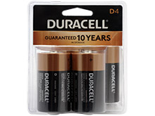 Duracell Coppertop Duralock MN1300-R4 D-cell 1.5V Alkaline Button Top Batteries - 4 Piece Clam Shell