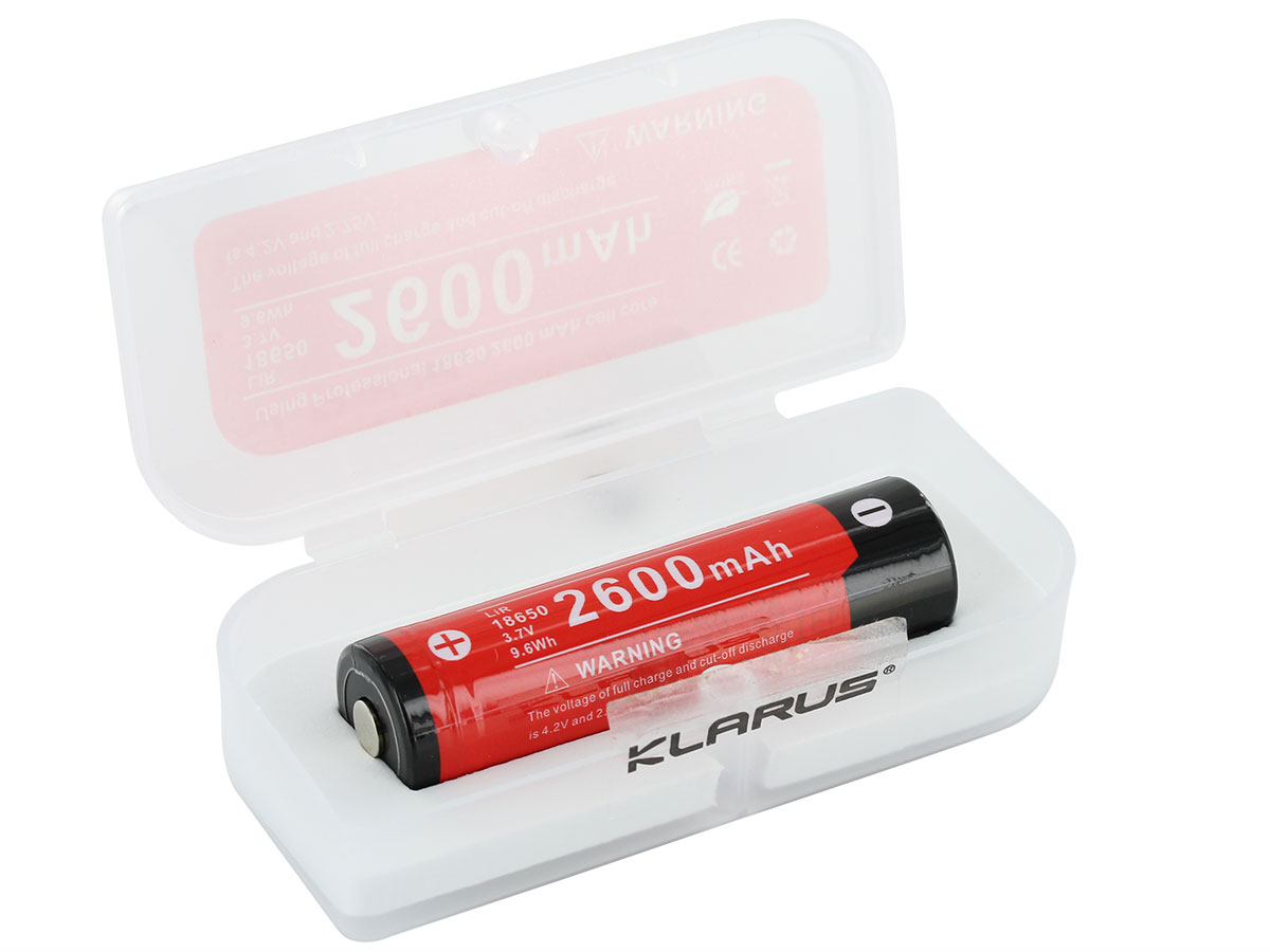 Klarus 18650 battery in open case