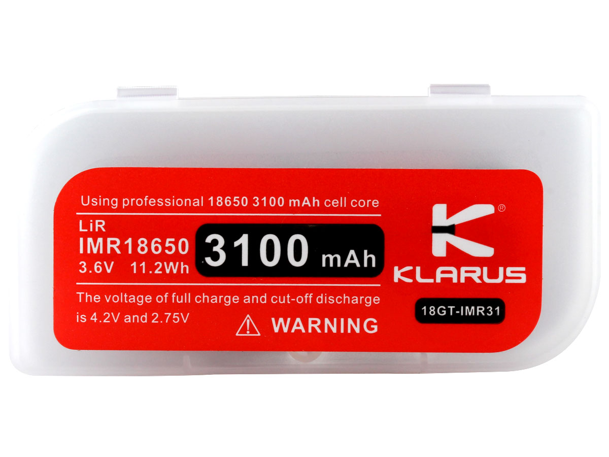 Klarus 18GT IMR 18650 in case with lid closed