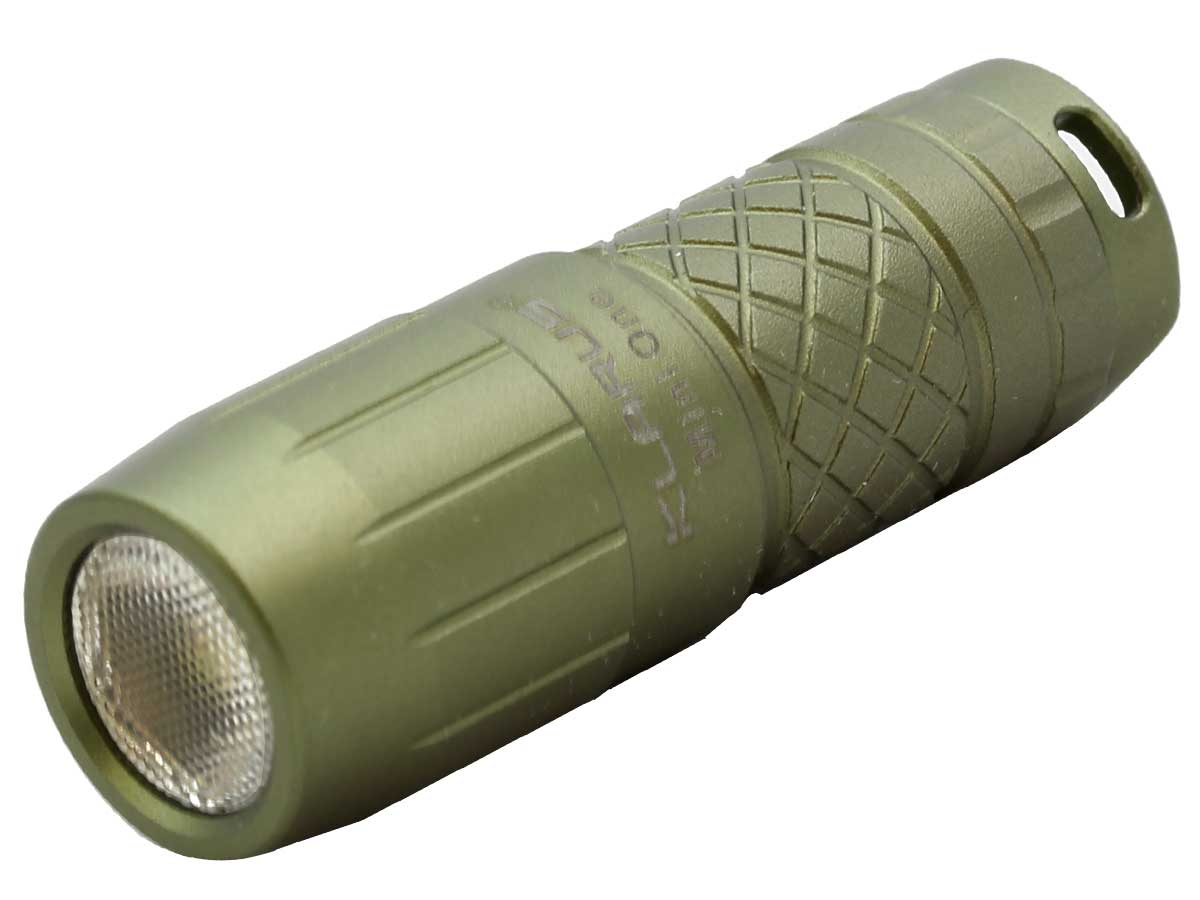 Angle Shot of Olive-colored Flashlight