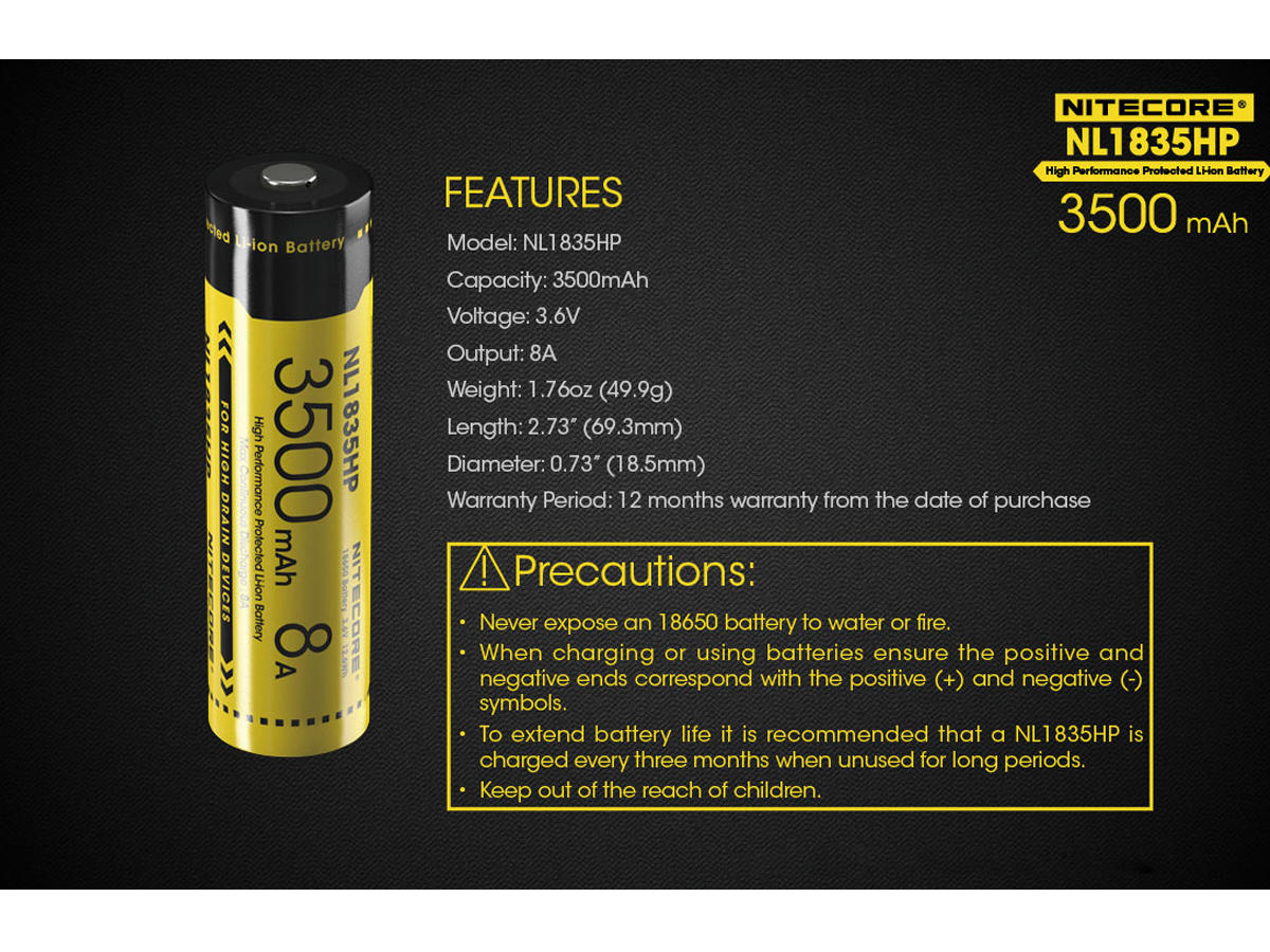 Slide about the Features of the Nitecore NL1835HP 18650