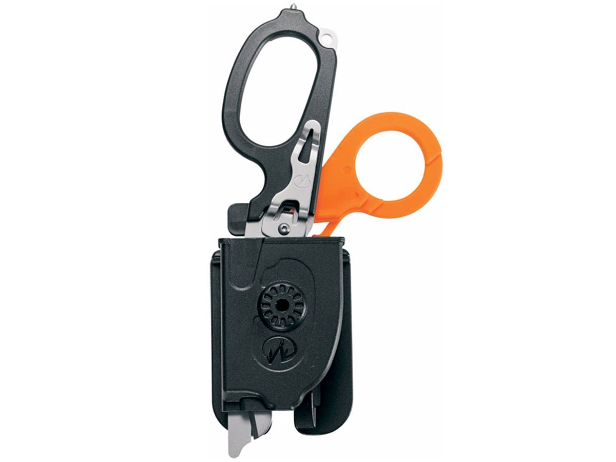 Leatherman Raptor Shears in orange and black in sheath