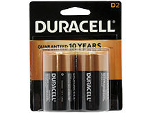 Duracell Coppertop Duralock MN1300-B2 D-cell 1.5V Alkaline Button Top Batteries - 2 Piece Retail Card
